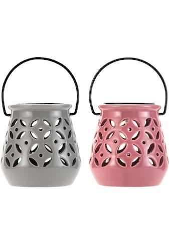 Pauleen LED Laterne »Sunshine Bloom«, 2 St., Warmweiß, Grau, Rosa, Keramik, Solarbetrieben, 2er Set kaufen