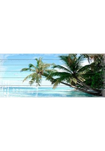 QUEENCE Holzbild »Palmen Strand«, 40x80 cm Echtholz kaufen