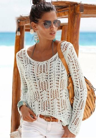 s.Oliver Beachwear Rundhalspullover, aus luftigem Ajourstrick kaufen