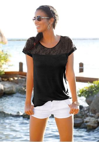 LASCANA Strandshirt, mit Spitzeneinsatz kaufen