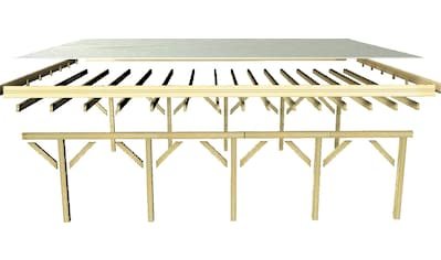 Karibu Einzelcarport »Caravan CLASSIC 2«, Fichtenholz, 360 cm, braun, BxT: 394x712 cm kaufen