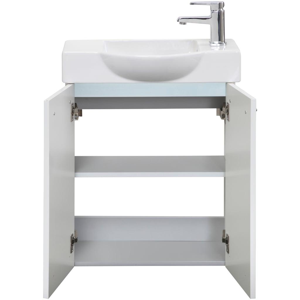 FACKELMANN Badmöbel-Set »Double-Sided«, (4 St.), Gästebad, bestehend aus Waschbecken, Waschtischunterbau, Spiegel und Aufsatzleute, Breite 54,5 cm