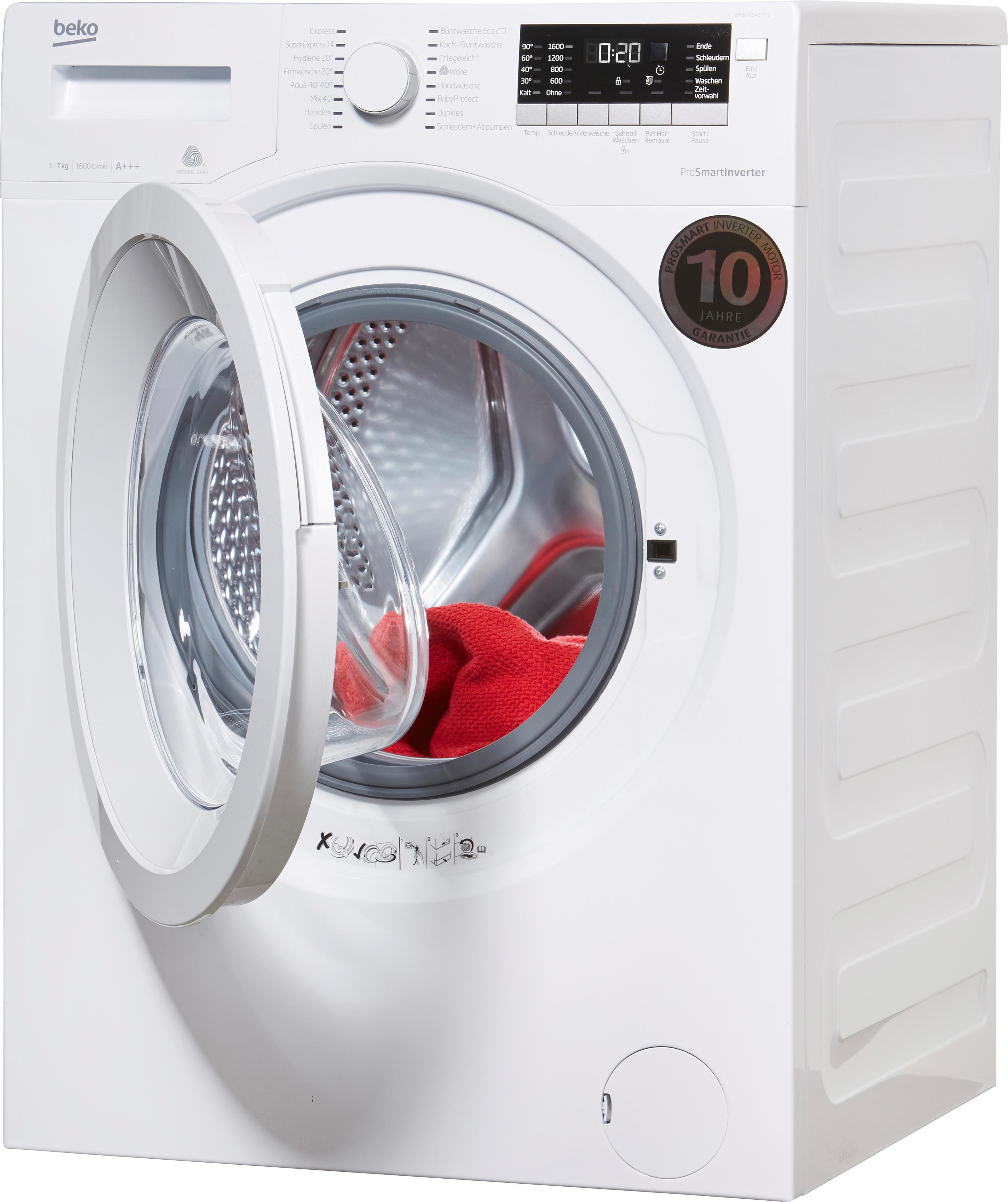 beko waschmaschine wmb 71643 pts jetzt online bei otto. Black Bedroom Furniture Sets. Home Design Ideas