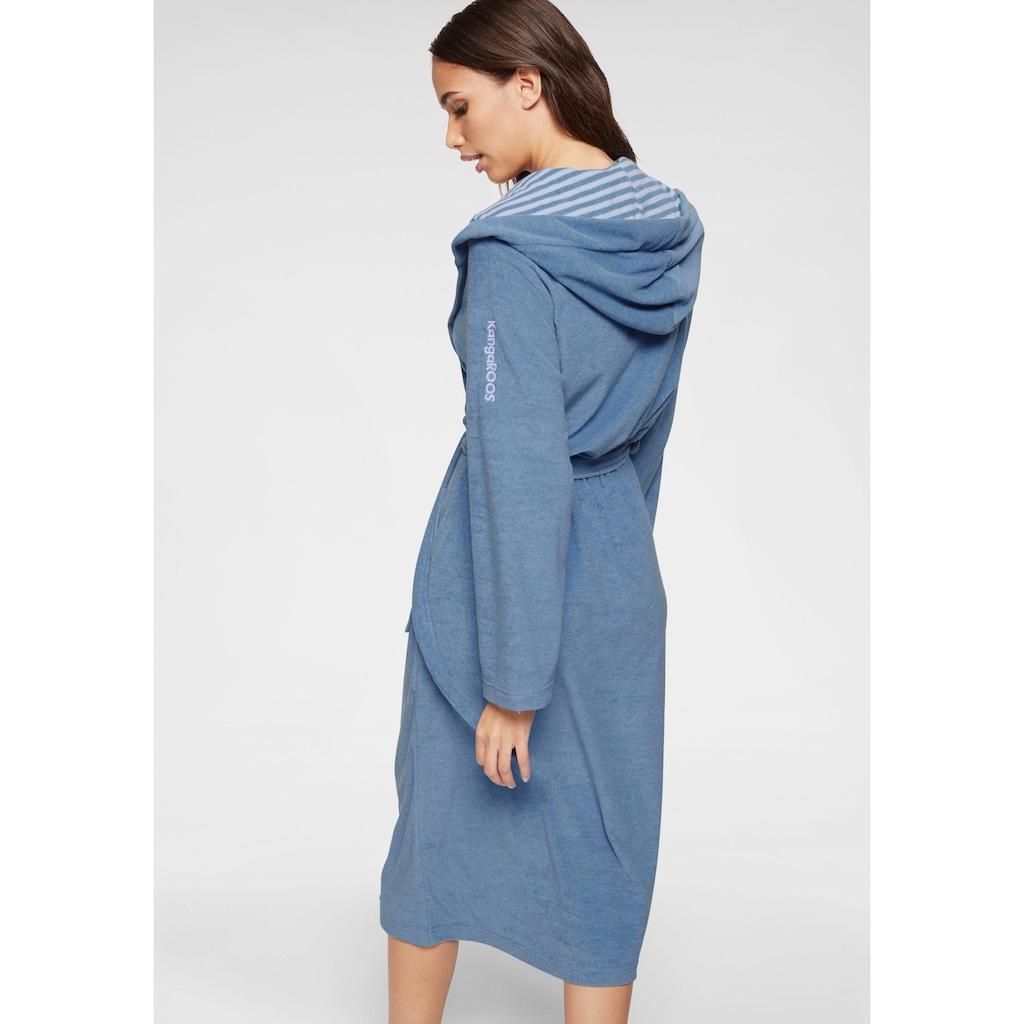 KangaROOS Damenbademantel »Dalia«, außen Unifarben und innen mit Streifen