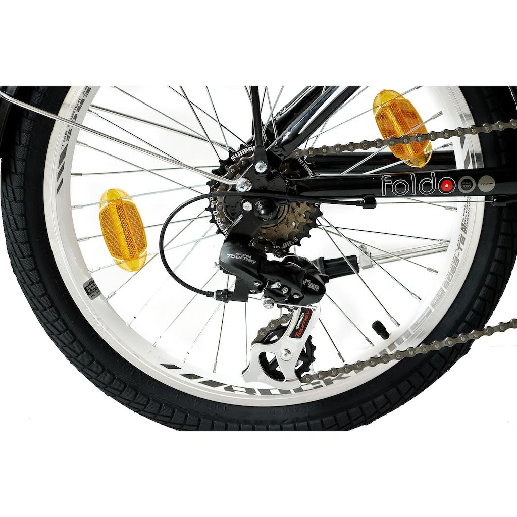 KCP Faltrad »Foldo Alu«, 6 Gang, Shimano, Tourney RD-TZ500-GS Schaltwerk, Kettenschaltung, (1 tlg.)