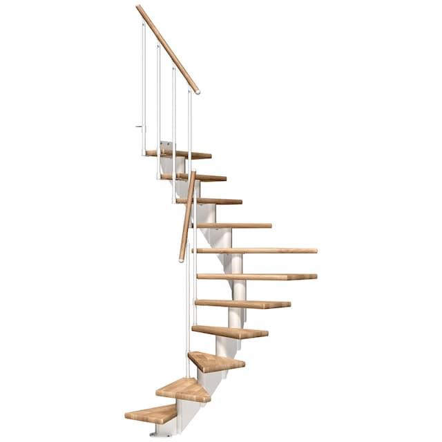 DOLLE Mittelholmtreppe »Frankfurt Eiche 65«, bis 258 cm, Metallgeländer, versch. Ausführungen