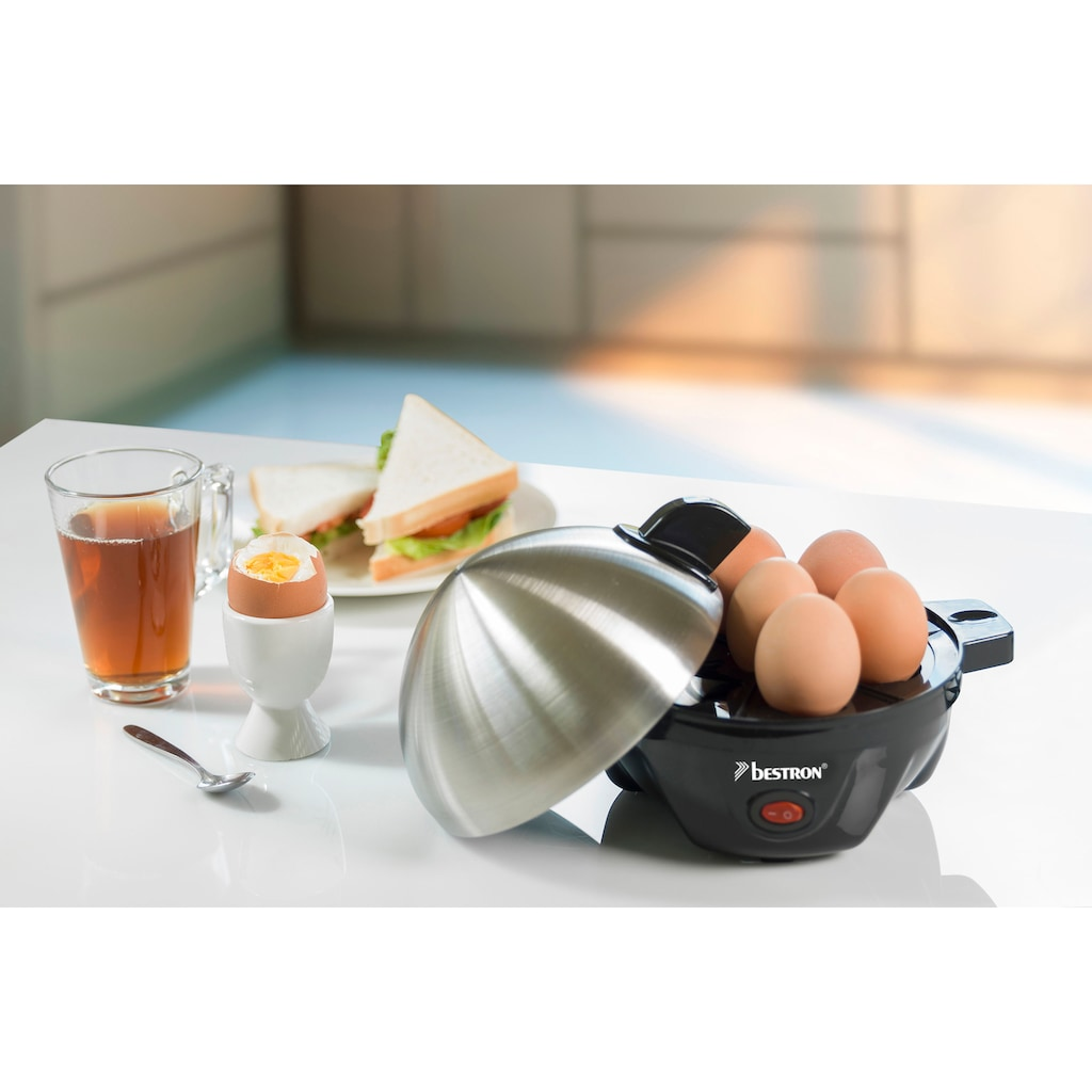 bestron Eierkocher »Breakfast Club«, für 7 St. Eier, 350 W, mit Messbecher und Eierstecher, Schwarz