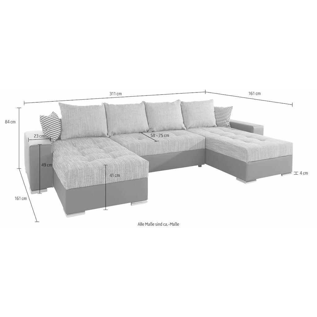 COLLECTION AB Wohnlandschaft, mit Bettfunktion, Bettkasten und XL-Recamiere, inklusive Federkern und loser Rücken- und Zierkissen