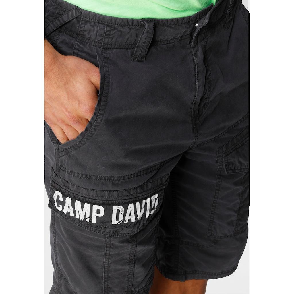 CAMP DAVID Bermudas, mit Logoprint