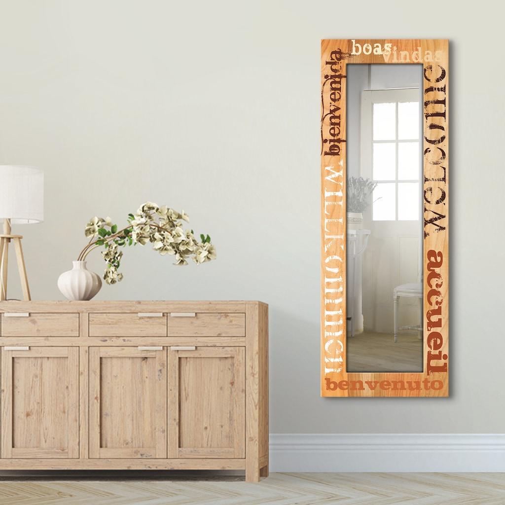 Artland Wandspiegel »Willkommen«, gerahmter Ganzkörperspiegel mit Motivrahmen, geeignet für kleinen, schmalen Flur, Flurspiegel, Mirror Spiegel gerahmt zum Aufhängen