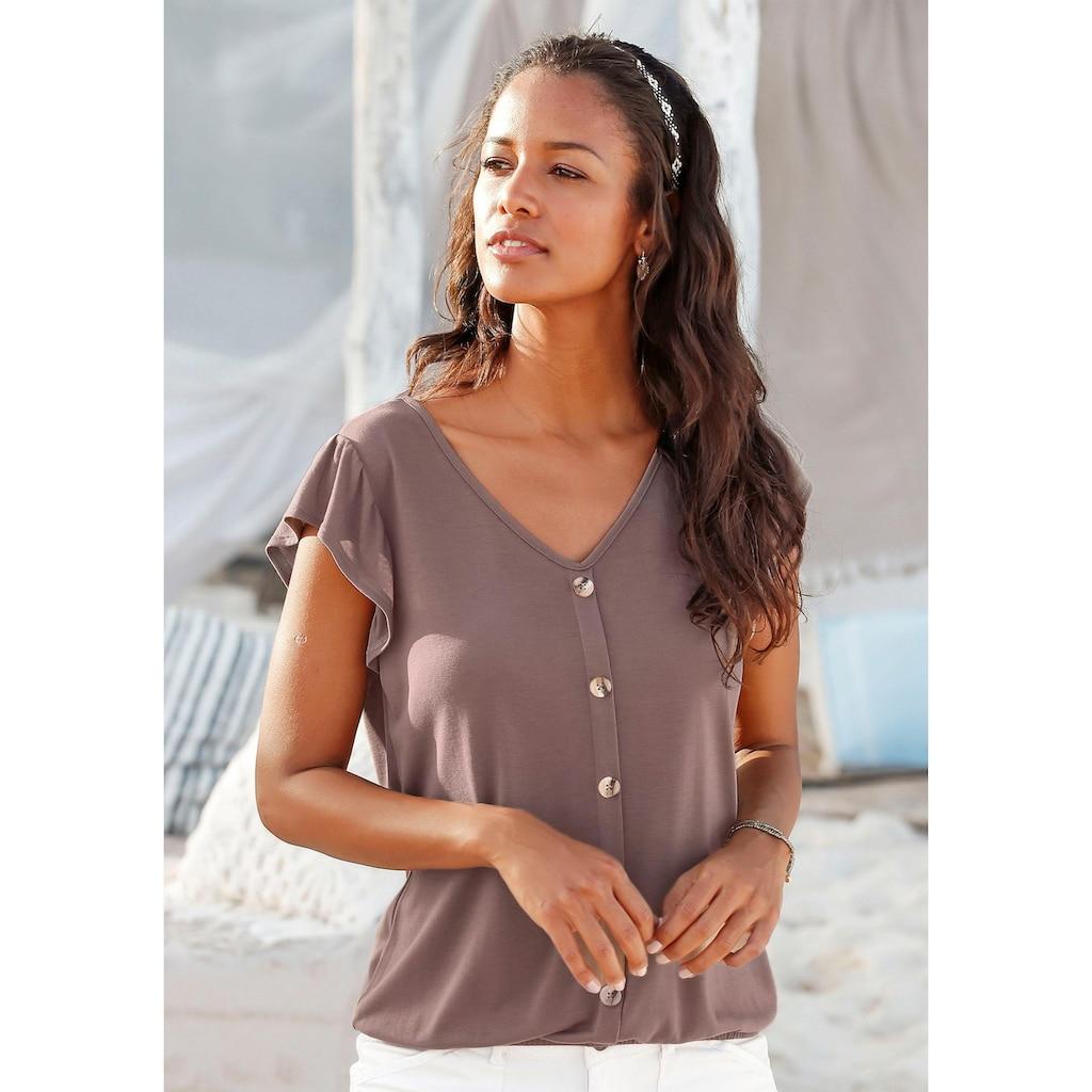 LASCANA T-Shirt, mit modischen Flügelärmelchen