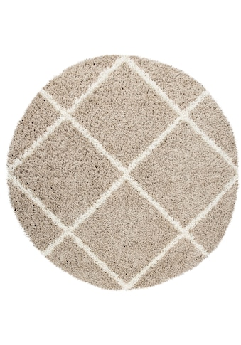 Paco Home Hochflor-Teppich »Kalmar 441«, rund, 40 mm Höhe, Scandi Design, Rauten... kaufen