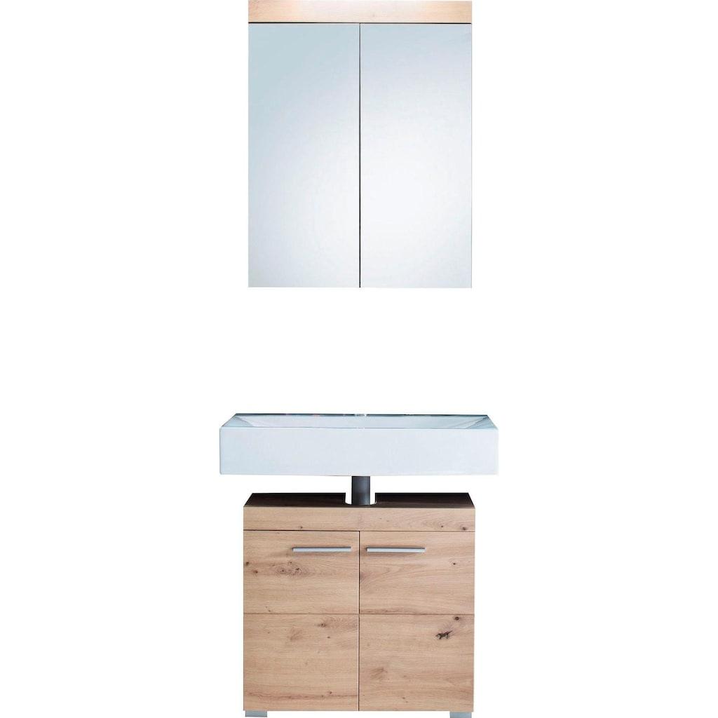 trendteam Badmöbel-Set »Amanda«, (Set, 2 St.), mit Spiegelschrank und Waschbeckenunterschrank, MDF-Fronten in Hochglanz- oder Holzoptik