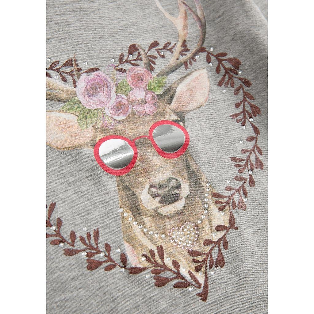 BONDI Trachtenshirt, mit coolem Print und Zierelementen