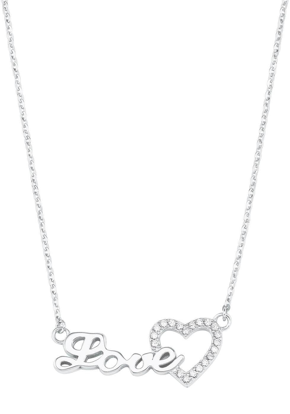 Amor Kette mit Anhänger »Schriftzug Love mit Herzmotiv, 2026062«   Schmuck > Halsketten > Herzketten   Amor