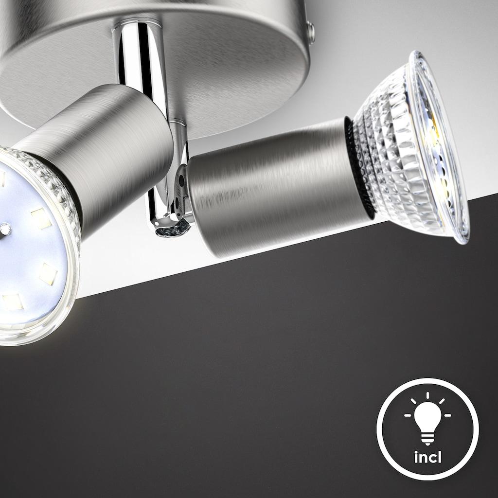 B.K.Licht Deckenspots, GU10, 1 St., Warmweiß, schwenkbare LED Deckenleuchte, inkl. 2x 3W GU10 Leuchtmittel, 2x 250lm, warmweiße Lichtfarbe, LED Deckenlampe, 11cm rund