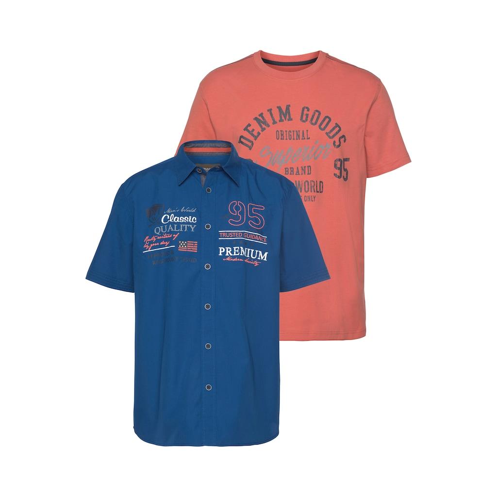Man's World Kurzarmhemd, (mit T-Shirt)