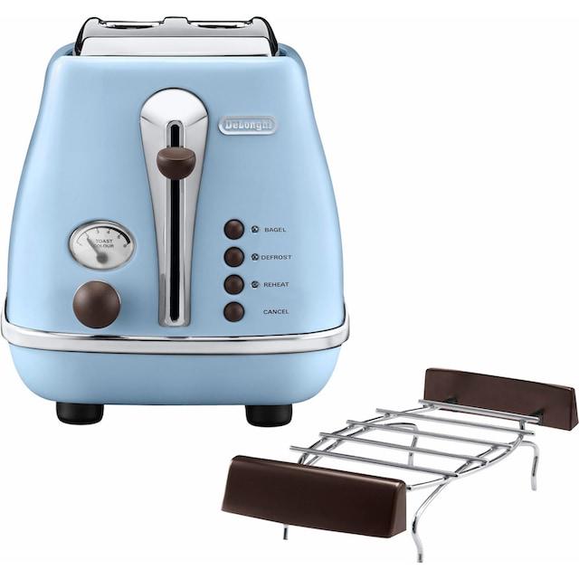 De'Longhi Toaster »Incona Vintage »CTOV 2103.AZ««, 2 kurze Schlitze, 900 W, im Retro Look, azur