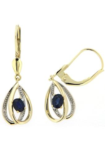 Firetti Paar Ohrhänger »elegant geschwunge Tropfenform«, mit Saphiren und Brillanten kaufen