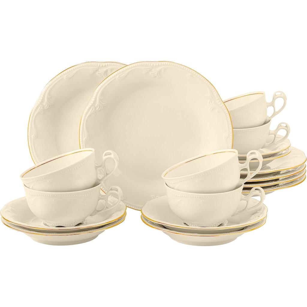 Seltmann Weiden Teeservice »Rubin Goldlinie«, (Set, 18 tlg., 6 Teetassen 0,14 l, 6 Untertassen 13 cm, 6 Brotteller 17 cm), in zeitlos, verspielter Form