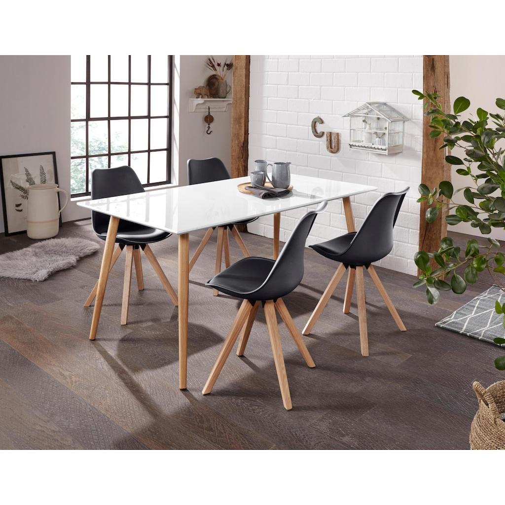 Homexperts Esszimmerstuhl »Kaja«, Sitzschale mit Sitzkissen in Kunstleder