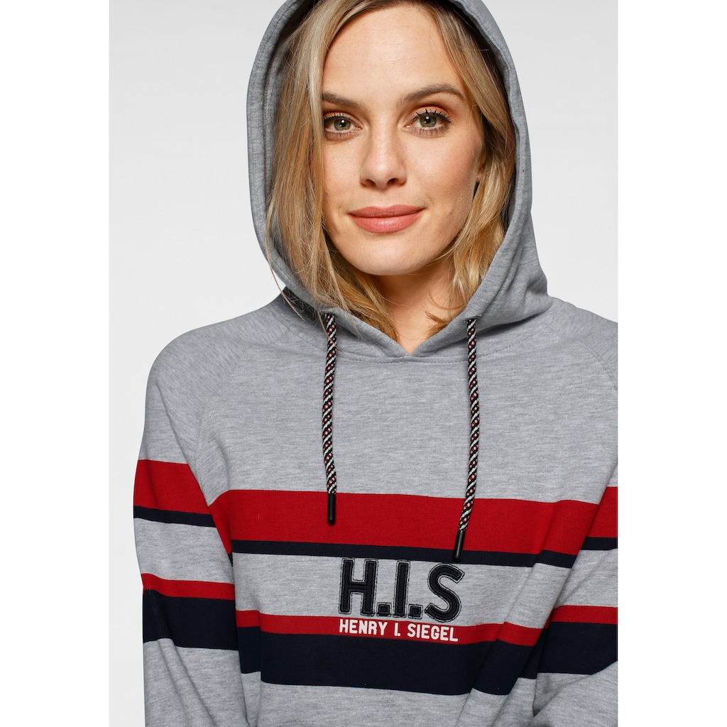 H.I.S Kapuzensweatshirt, mit Colourblocking und Logo -Applikation