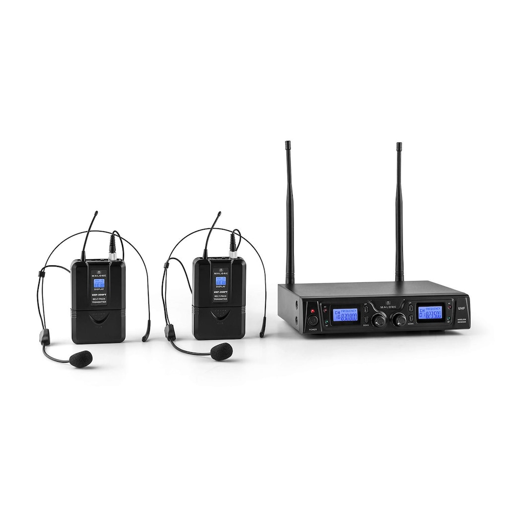 Malone 2-Kanal UHF-Funkmikrofon-Set 50m Reichweite »Duett-Pro-V2«