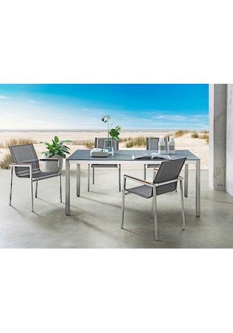 DESTINY Essgruppe »Altos - Sao Paulo«, 5 - tlg., 4 Stühle, Tisch 180x100 cm, Edelstahl/Glaskeramik kaufen