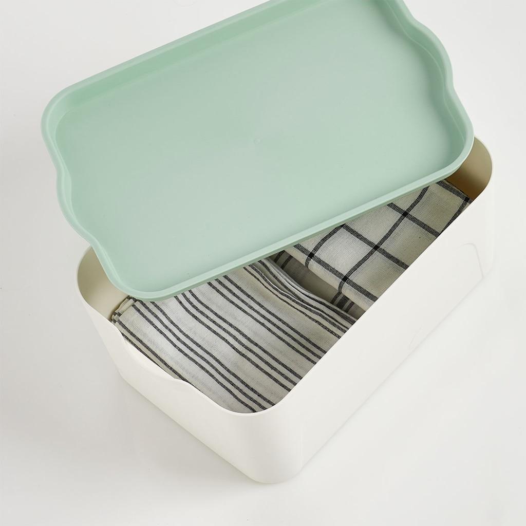 Zeller Present Aufbewahrungsbox »Aufbewahrungsbox m. Deckel, Kunststoff, weiß/mint«, (1 St.)
