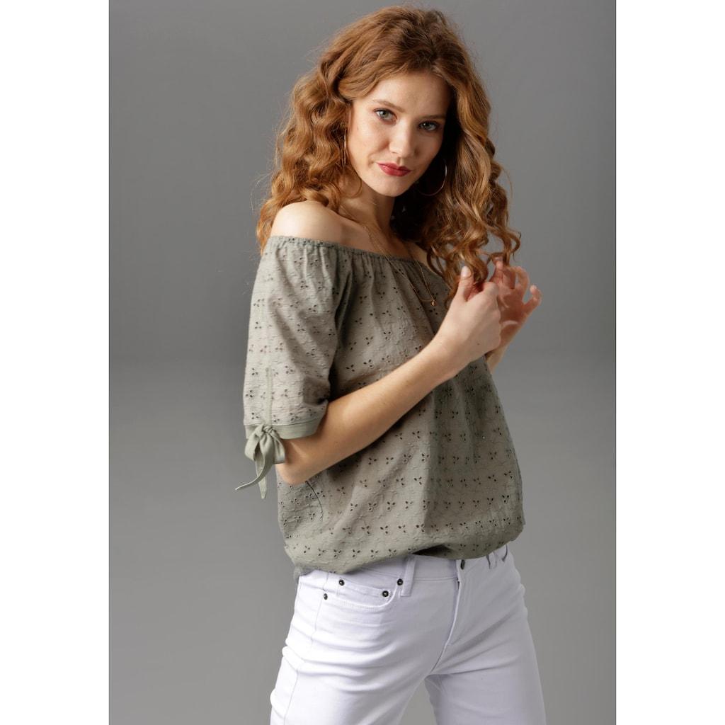 Aniston CASUAL Carmenbluse, mit Lochstickerei verziert