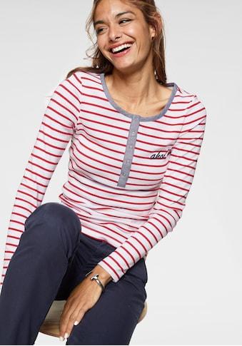 AJC Langarmshirt, mit Bruststickerei & Denim-Kante an der Knopfleiste kaufen