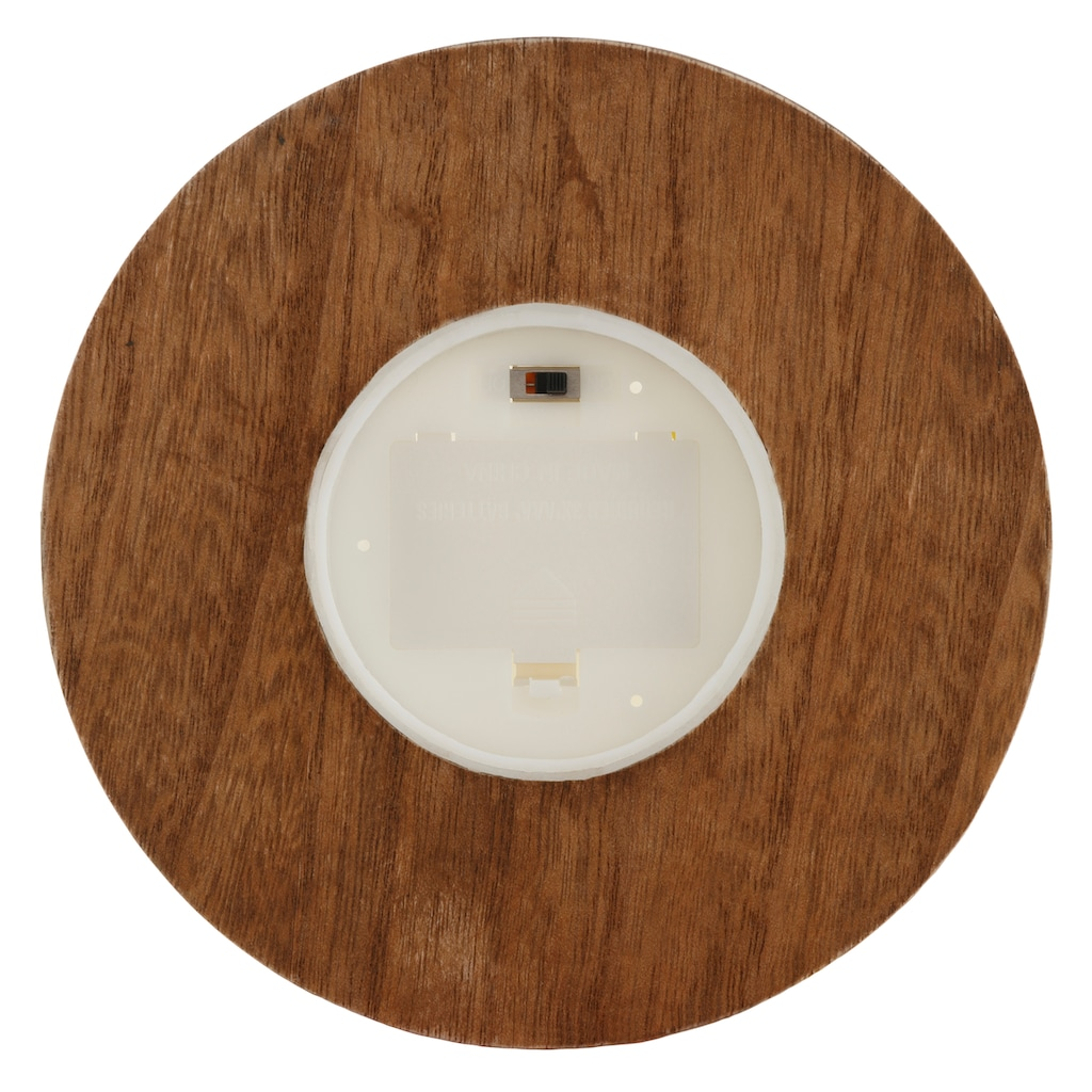 LED Laterne, Glaslaterne mit LED-Kerze, Kordel und Holzsockel