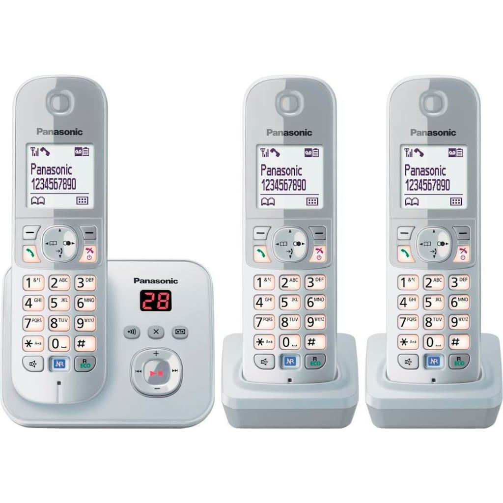 Panasonic Schnurloses DECT-Telefon »TG6823G Trio«, (Mobilteile: 3 ), mit Anrufbeantworter, Nachtmodis, Freisprechen