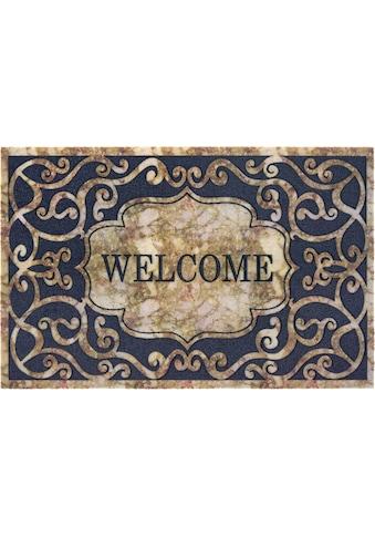 DELAVITA Fußmatte »Welcome Ornament«, rechteckig, 6 mm Höhe, Schmutzmatte, mit Spruch,... kaufen