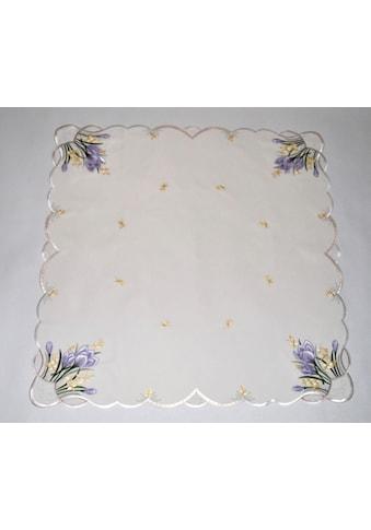 Stickereien Plauen Mitteldecke »Tischdecke Krokusblüte«, Plauener Spitze, Made in Germany kaufen