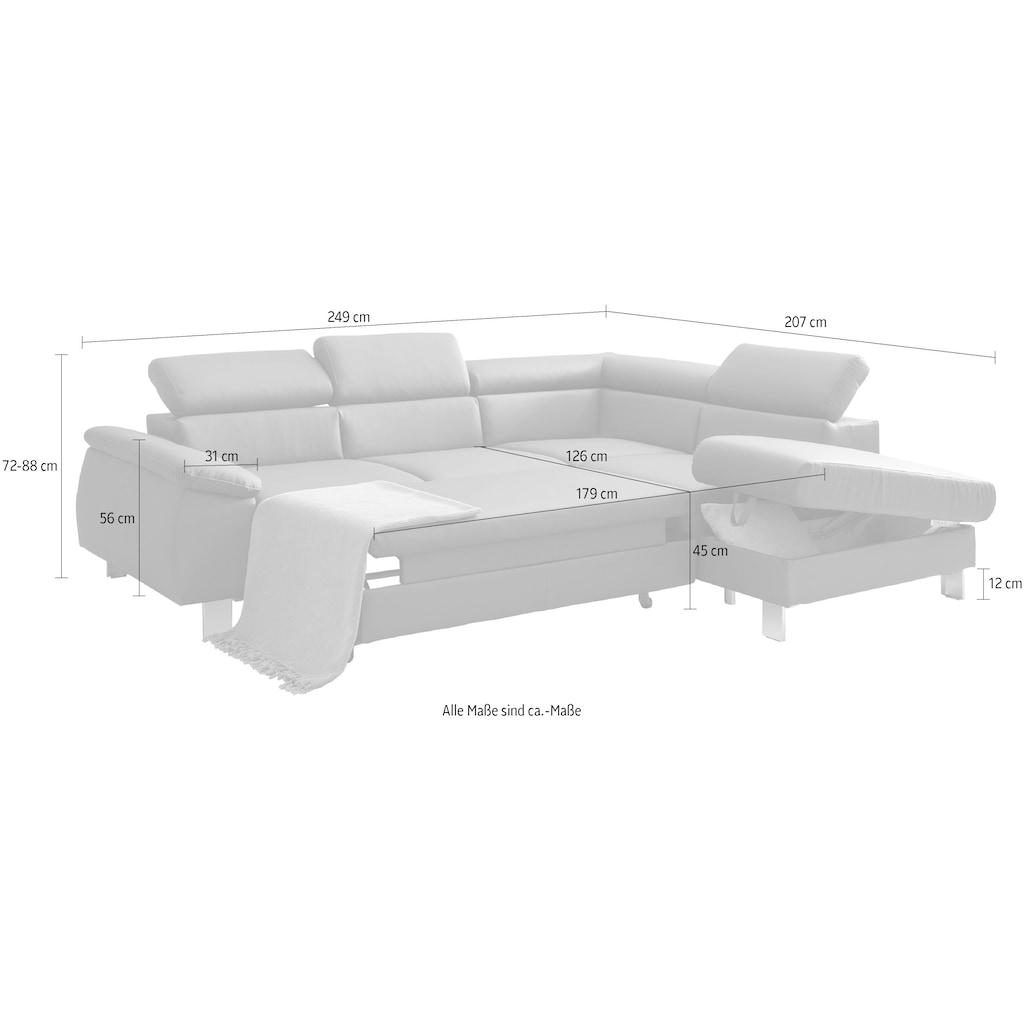 COTTA Ecksofa »Komaris«, inklusive Kopf- bzw. Rückenverstellung, wahlweise Bettfunktion, Bettkasten und RGB-LED-Beleuchtung