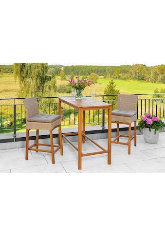 MERXX Gartenmöbelset »Barset«, (3 tlg.), 2 Barstühle mit Bartisch für den Outdoorbereich kaufen