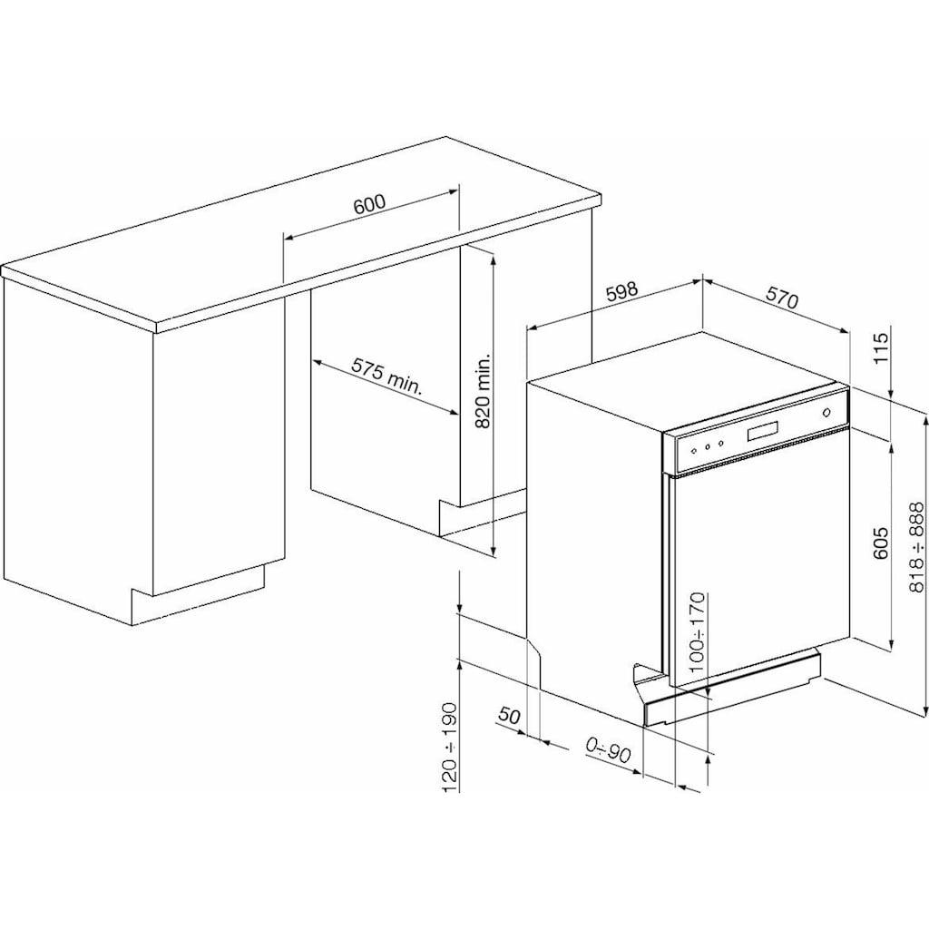 Smeg Unterbaugeschirrspüler »LSP4325XDE«, LSP4325XDE, 8,5 l, 13 Maßgedecke