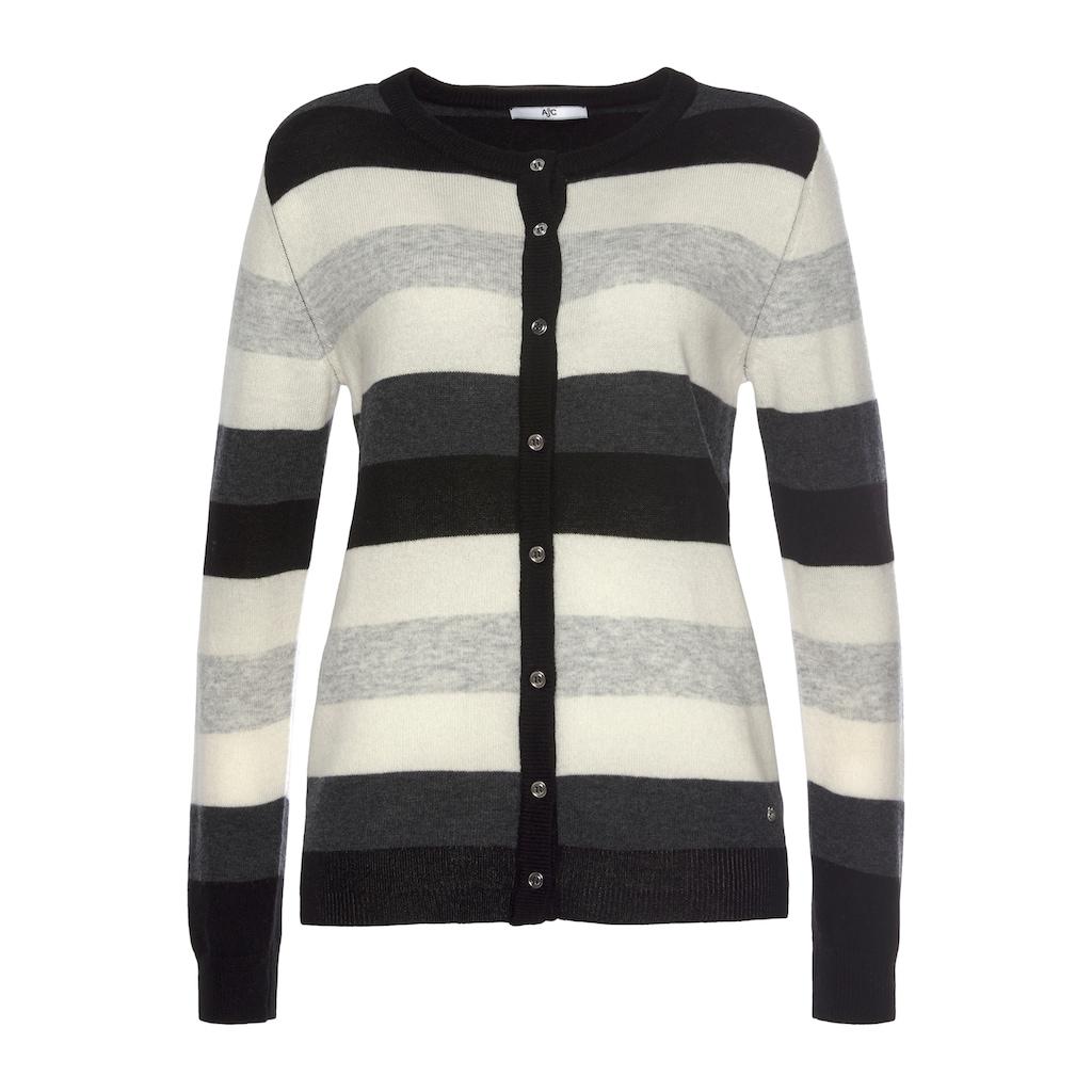 AJC Strickjacke, in Basic-Form mit Colorblocking aus hochwertiger Merino-Wolle