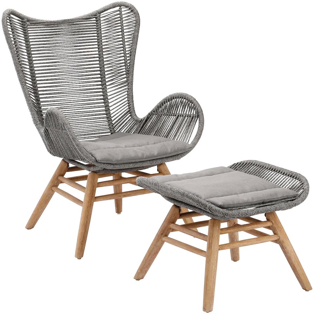Best Loungesessel »Asmara«, Eukalyptus/Polyethylen, mit Hocker