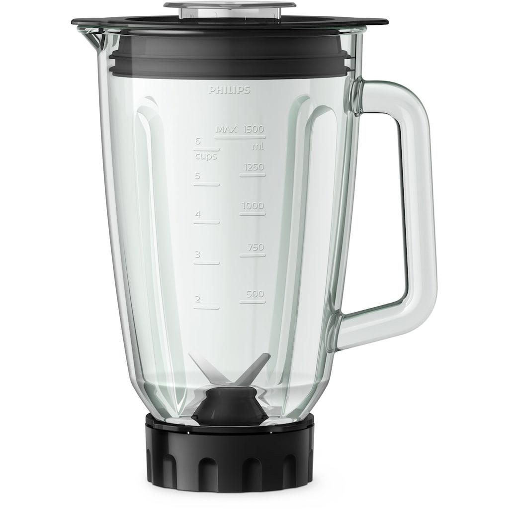 Philips Standmixer »HR3573/90«, 1000 W, 27000 Umdr. / Min., 2L Glasbehälter, Trinkflasche, spülmaschinenfest) Metall/Glas