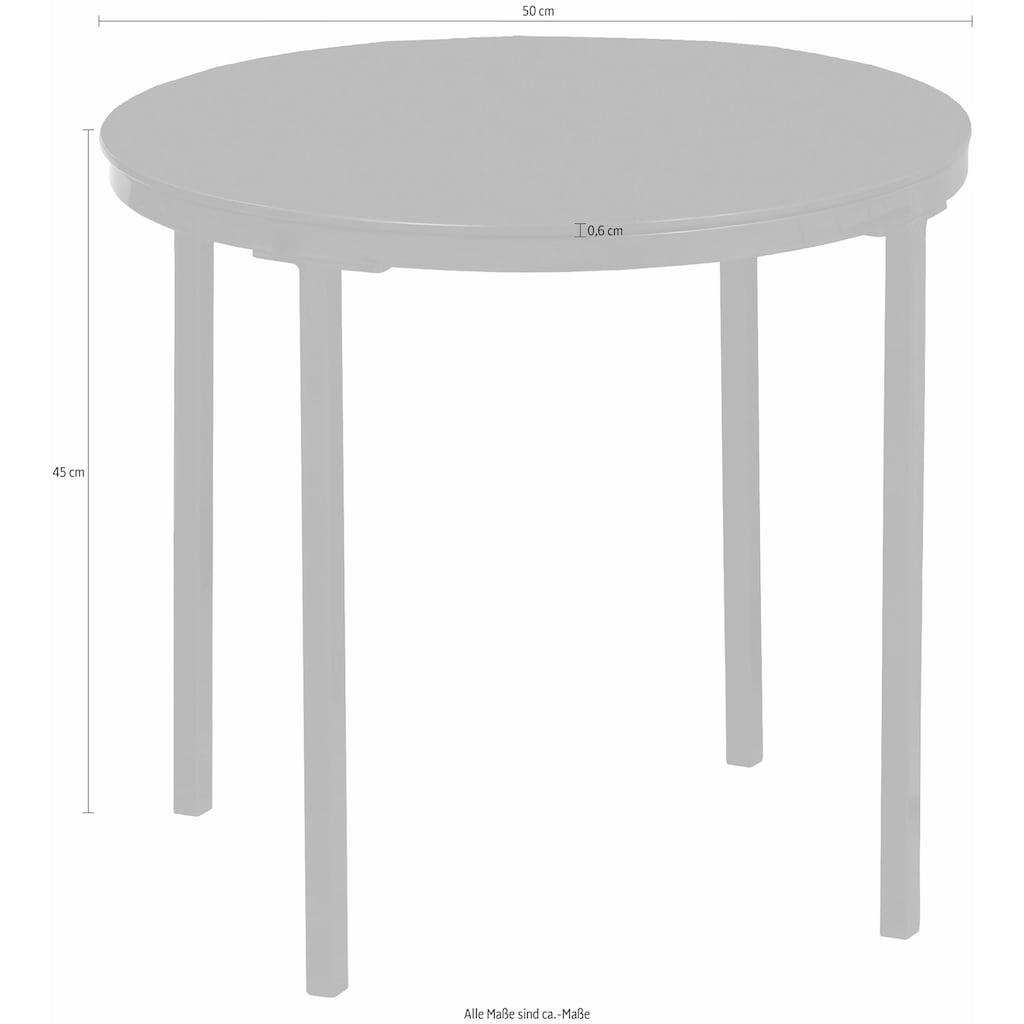 andas Beistelltisch »Gaby«, mit Tischplatte aus bronzefarbigem Spiegelglas und Metall Gestell