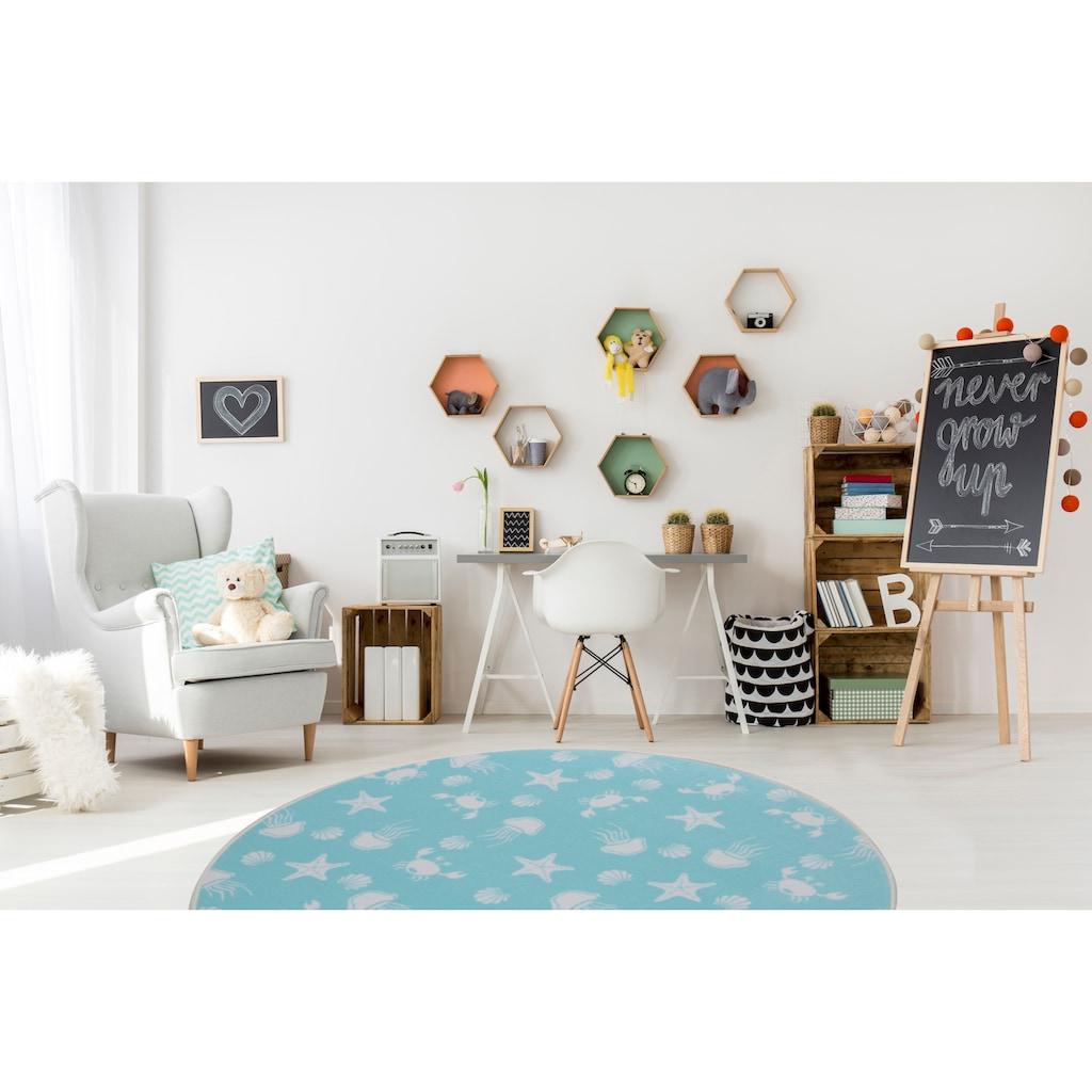 Living Line Kinderteppich »Meereswelt weiß«, rund, 7 mm Höhe, Velours, Motiv Meerestiere, Kinderzimmer