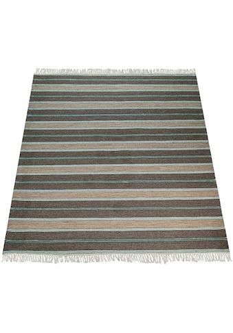 Paco Home Teppich »Badoi 250«, rechteckig, 11 mm Höhe, handgefertigter Kurzflor mit Streifen und Fransen, Wohnzimmer kaufen
