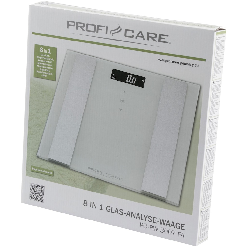 ProfiCare Körper-Analyse-Waage »PC-PW 3007 FA«, 8 in 1 Glas-Analyse-Waage in 2 Farben