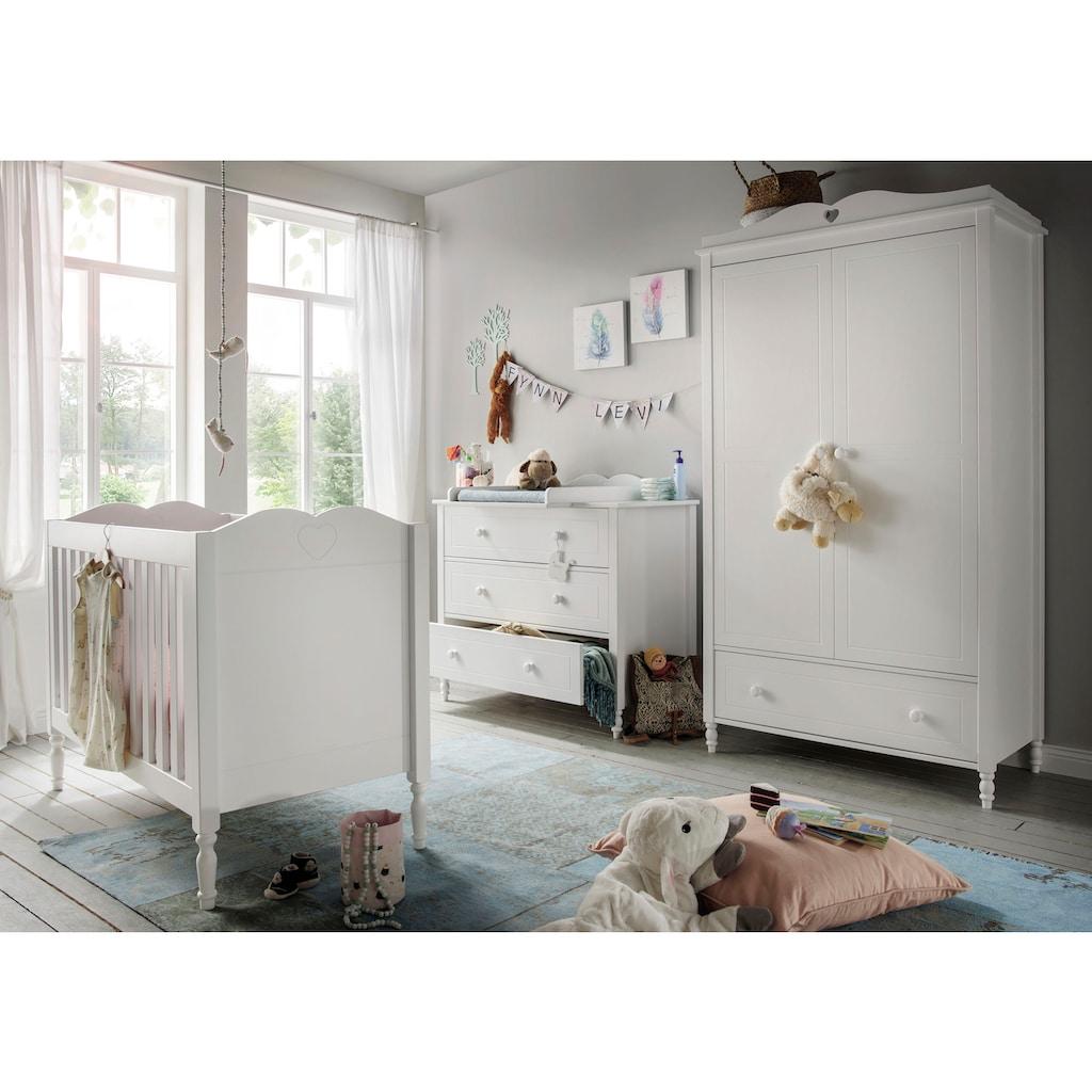 Fantasykids Babyzimmer-Komplettset, (3 tlg., Bett + Wickelkommode + 2-trg. Schrank)