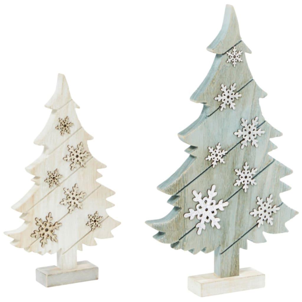 LED Baum »Tannen«, 2 St., Warmweiß, veredelt mit Glitzer-Schneeflocken