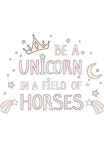Wandtattoo »Kvilis  -  Schriftzug Be a unicorn in a field of horses« kaufen