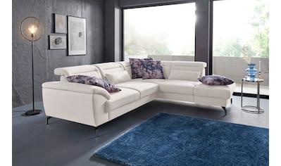 sit&more Ecksofa, 12 cm Fußhöhe, inklusive Sitztiefenverstellung, wahlweise Kopfteilverstellung, wahlweise in 2 unterschiedlichen Fußfarben kaufen