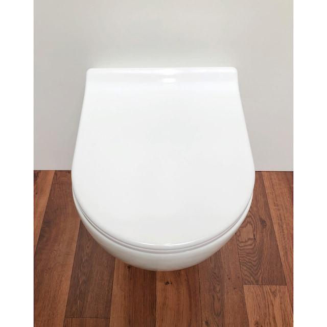 ADOB WC-Sitz »Design mit Absenkautomatik«, Slimline, auf Knopfdruck von der Keramik abnehmbar